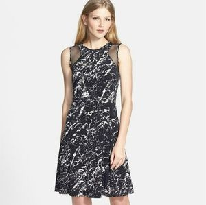 Vince Camuto sheer insert marble print ponte dress